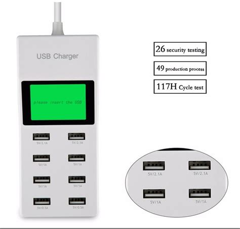 Original Ldnio A8101 Multifunction Desktop 8 Port Usb Power Adapter 8 usb ports us eu uk multi charger with lcd screen travel smart charger for huawei mate 9 pro
