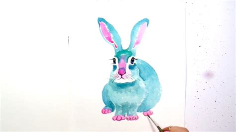 watercolor rabbit tutorial how to paint and color a cute blue bunny rabbit a