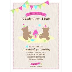 Teddy Picnic Invitation Template by Teddy Picnic Printable Birthday Invitation