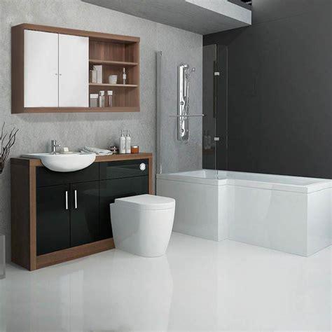 Lucido L Shape Furniture Suite Black Buy Online At Furniture Bathroom Suites