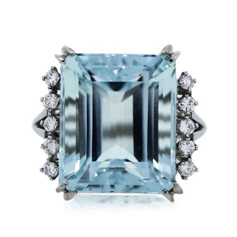 emerald cut 21 92ct aquamarine and cocktail ring