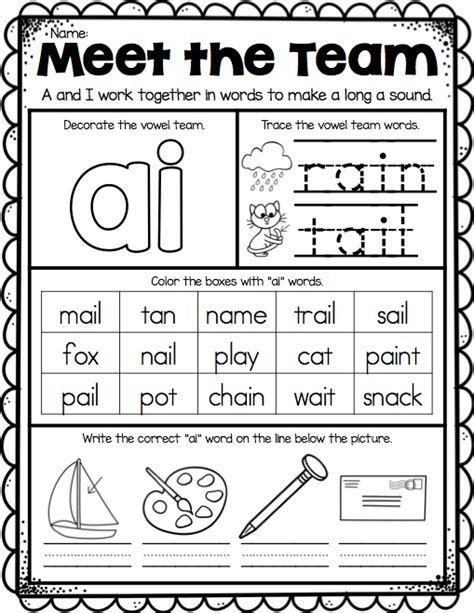 ai vowel pattern worksheets ai ay worksheets free worksheets library download and
