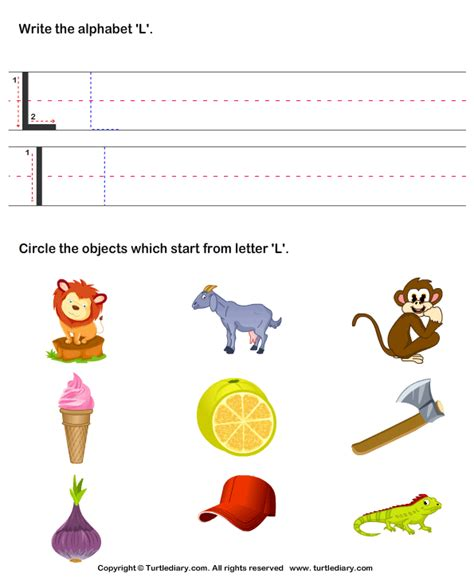 color that starts with l identify words that start with l worksheet turtle diary