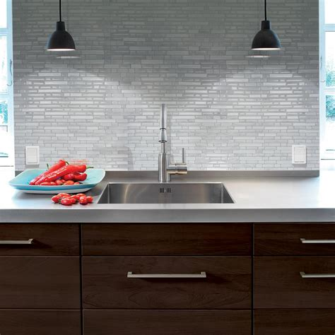 kitchen backsplash stick on tiles smart tiles bellagio marmo 10 06 in w x 10 00 in h peel