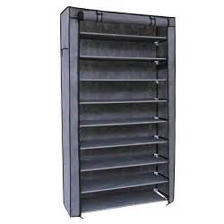 Covered Shoe Cabinet Songmics 10 Tiers Shoe Rack With Dustproof Cover Closet