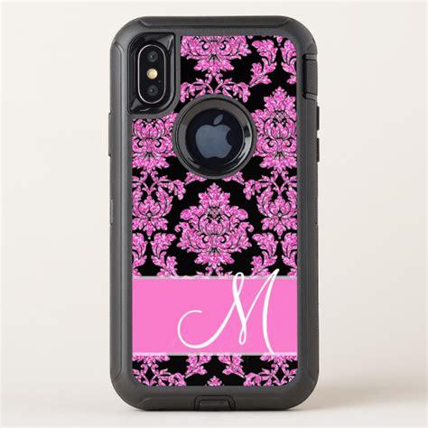 hot pink glitter damask pattern  black monogram