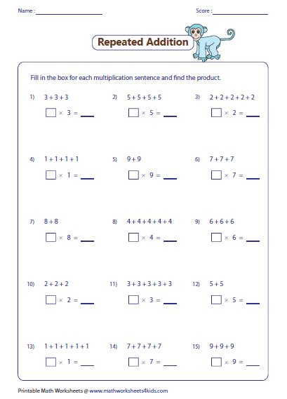 free printable worksheets multiplication as repeated addition addition worksheets 187 multiplication by repeated addition