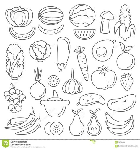 vegetables 5 lines line vector graphical fancy set of fruit and vegetable