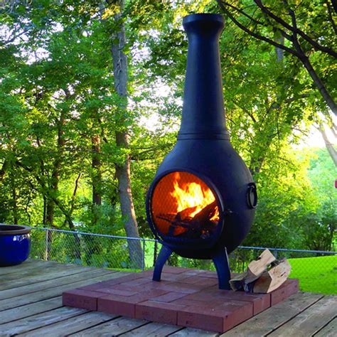 chiminea on deck prairie chimenea cast aluminum outdoor fireplace blue