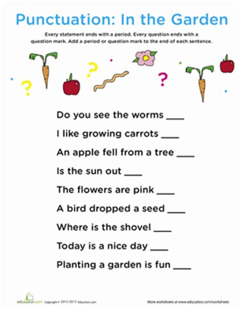 punctuation worksheets grade 4 with answers punctuation in the garden worksheet education