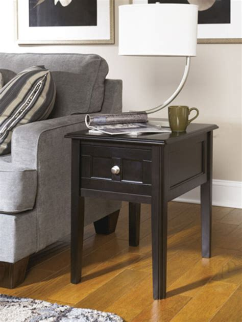 ashley furniture chair side  table henning  black   table  ebay