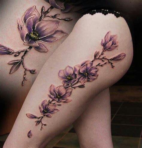 big thigh tattoos large lilac on thigh
