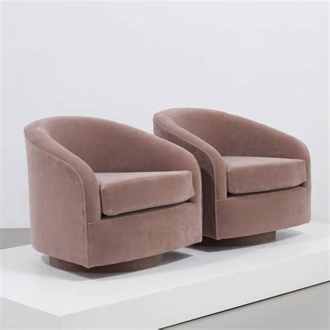 Swivel Armchairs Upholstered by Pair Of Swivel Velvet Upholstered Armchairs 1970s For Sale At 1stdibs