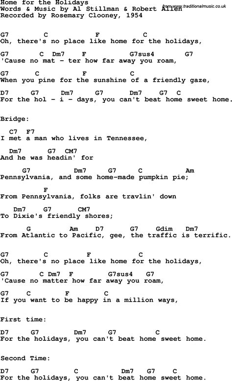 song lyrics with guitar chords for home for the holidays