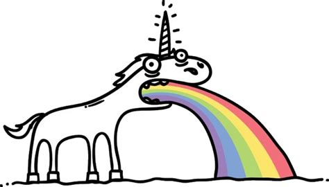 unicorns throwing up rainbows