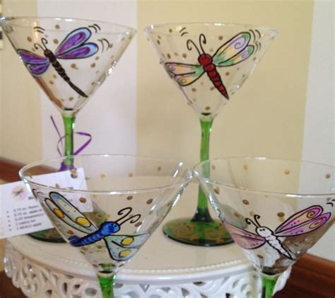 martini glass painting made painted dragonfly martini glasses glassware