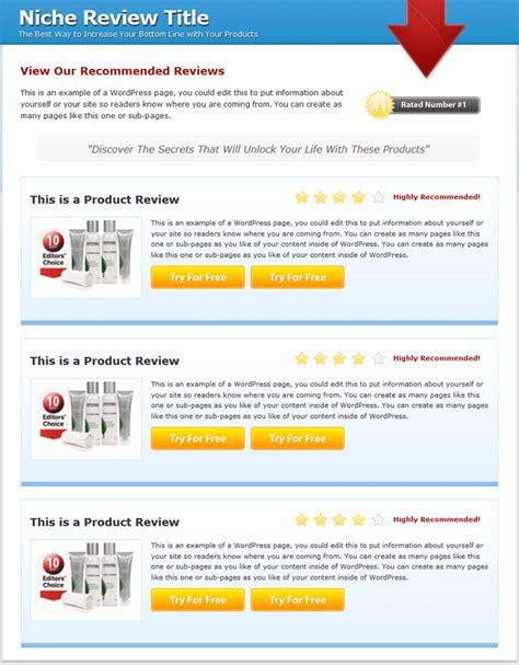 Multi Product Review Website Templates Mrr Review Website Template Free