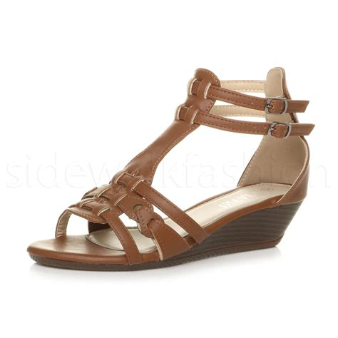low gladiator sandals womens low mid heel wedge strappy summer gladiator