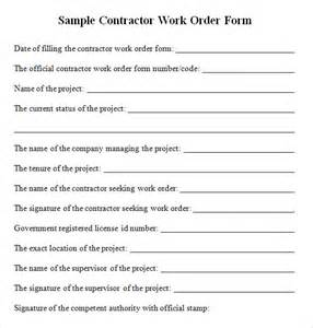 free contractor forms templates contractor work order form free for pdf