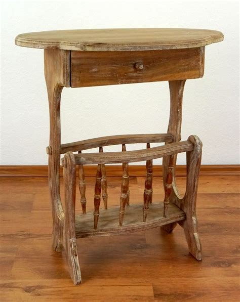 Handmade Console Tables - teak wood telephone table with newspaper rack handmade