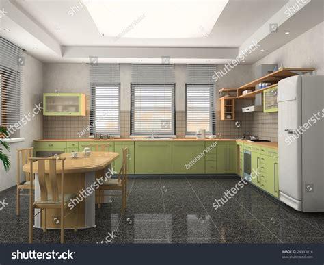 modern kitchen interior 3d rendering the modern kitchen interior design 3d rendering stock