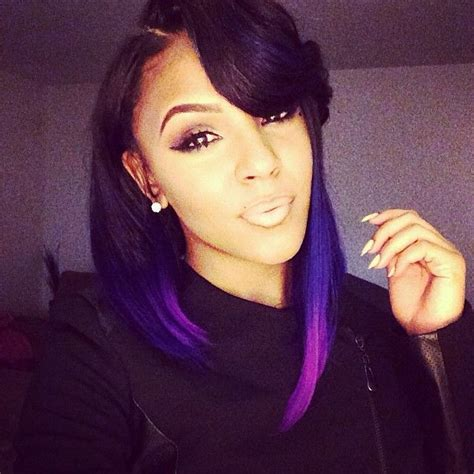 black women with purple hair purple ombre bob w pin curl bangs hairy situation