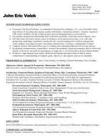 Investment Representative Sle Resume by Resume Velek Regional Sales Rep