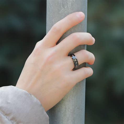 black tungsten wedding bands set  women men hearts
