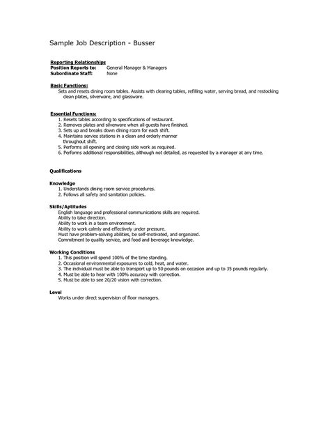 busser resume sle restaurant busser description for resume