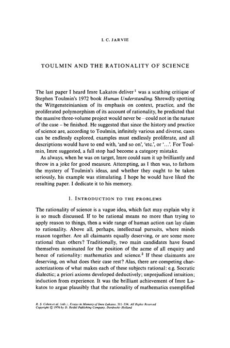 Toulmin Analysis Essay Exle by Toulmin And The Rationality Of Science Springer