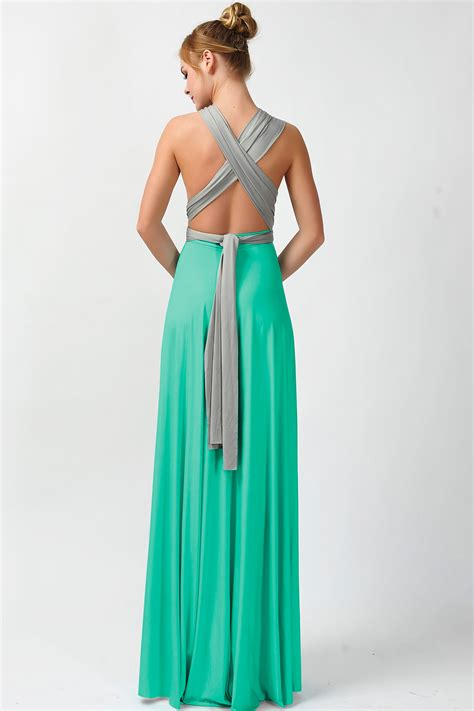teal color bridesmaid dresses two colors infinity bridesmaid dresses gray and teal green