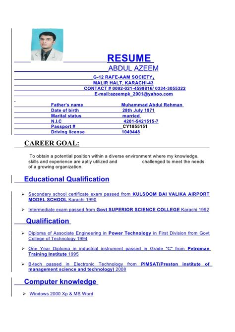 Resume License Number Azeem Cv