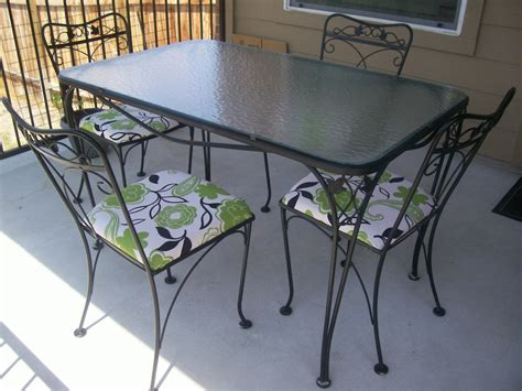 Rod Iron Patio Table And Chairs Salterini 5 Wrought Iron Patio Table And Chairs Collectors Weekly