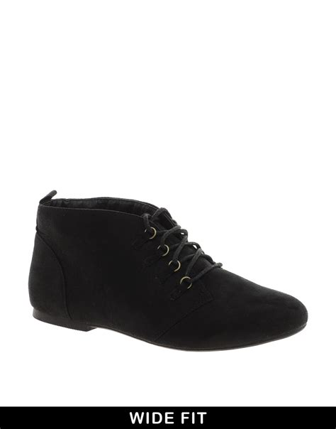 cheap flat boots 20 asos lace up flat ankle boots in black lyst