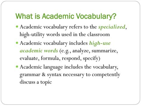 academic vocabulary in use ppt vocabulary instruction for upper elementary and middle grades strategies for success