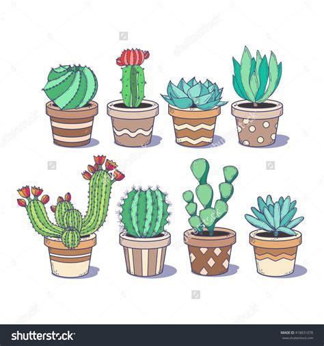 cactus doodle cactus and succulent set eight doodle colorful