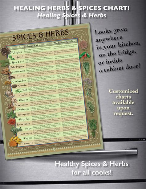 spice herb kitchen chart by amalgamarts on etsy laminated print healing herbs spices kitchen chart