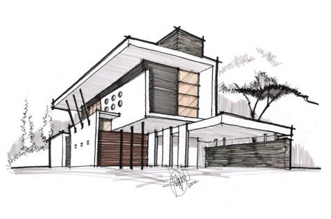 Modern House Drawing | perspective colors line for deffirent materials3 mauro