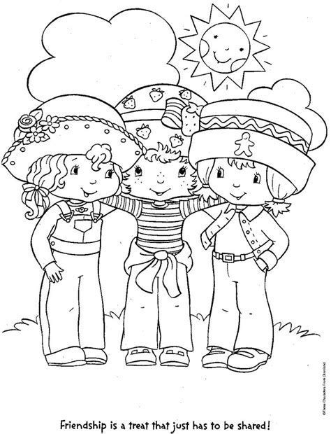 coloring pages with friends coloring page strawberry shortcake and friends coloring me