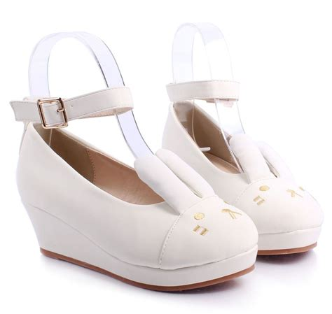 youth high heels white ankle buckle bunny ears wedge