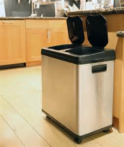Bathroom Garbage Cans Itouchless Stainless Steel Dual Compartment Touchless