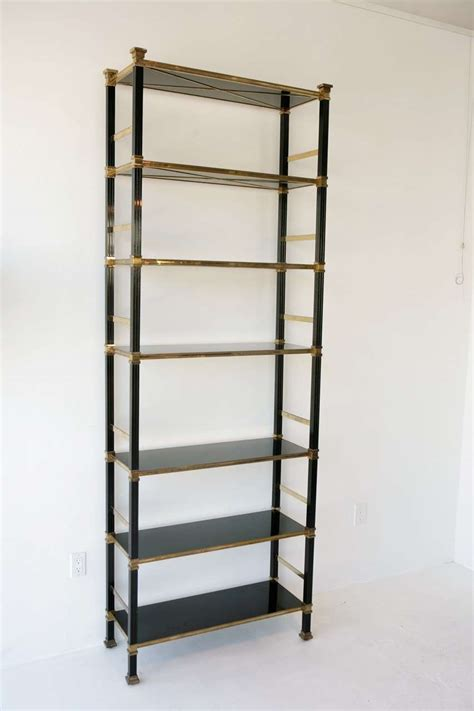 black lacquer bookshelves regency style brass and black lacquer bookshelves at 1stdibs