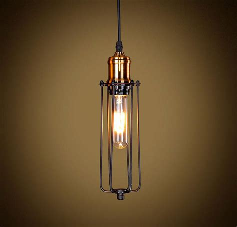 long pendant light traditional mini black wire long cage pendant light