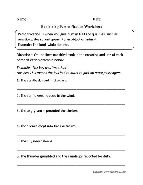 Personification Worksheets by 15 Best Images Of Personification Worksheets For Students