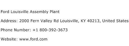 chrysler jefferson assembly plant address ford louisville assembly plant address contact number of
