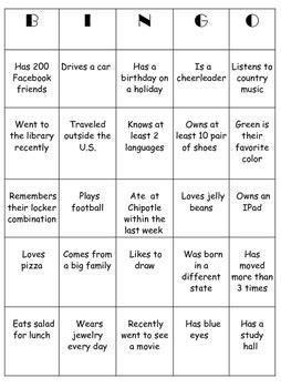 icebreaker high school bingo card template icebreaker bingo for middle and high school by secondary