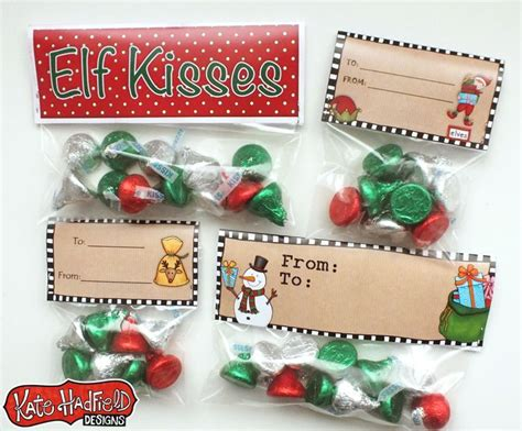 printable elf kisses free elf kisses bag toppers bags kiss and bag toppers