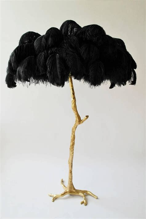 Exquisite Hollywood Regency Sculptural Ostrich Feather Small Black Feather