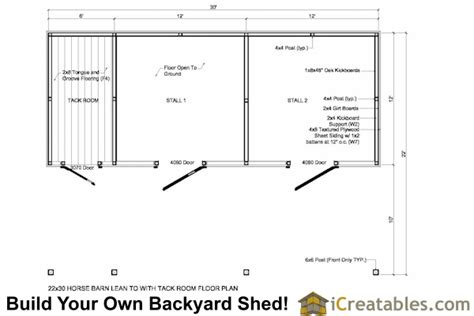horse stall floor plans shedfor pole barn plans with lean to
