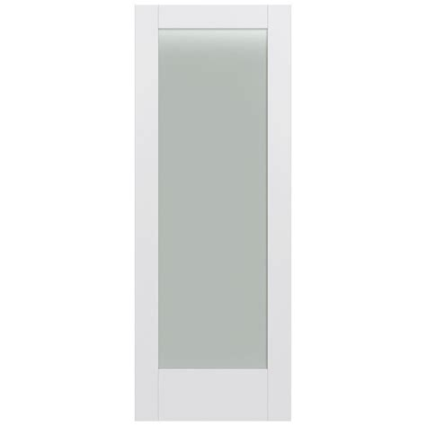 White Glass Panel Interior Doors Jeld Wen 32 In X 80 In Moda Primed White 1 Lite Solid Wood Interior Door Slab With